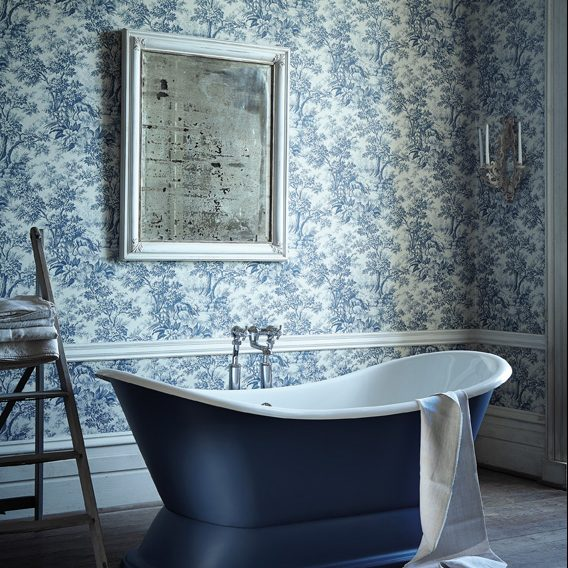 Stag Toile Revolution Wall Paper Bathroom LG