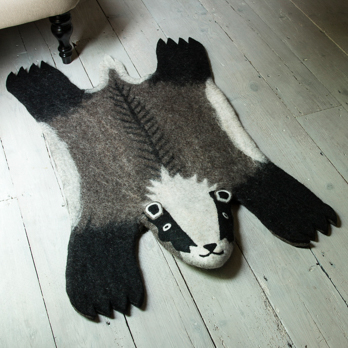 Animal, rug, wool, felted, badger, billie, Staffordshire