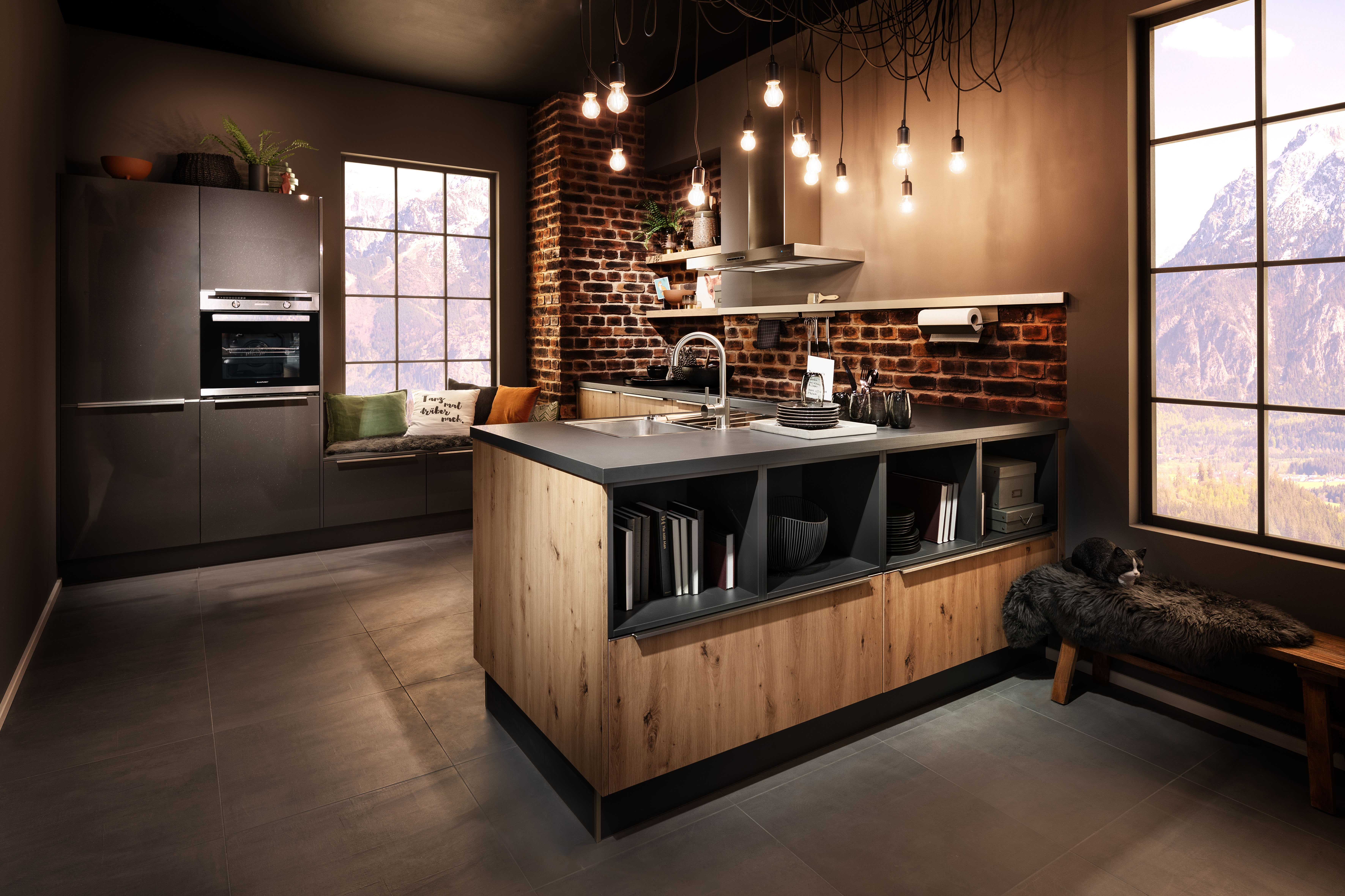 Kitchens, Staffordshire, Island, Contemporary, Wood, Glass, Cheshire