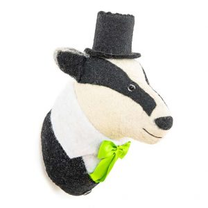 Billie, Badger, Head, Wool, Wall, Hanging